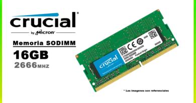 MEMORIA SODIMM DDR4 16GB 2666 CRUCIAL
